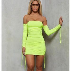 Mini Dress in Neon Green